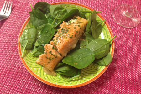 Orange Mint Baked Salmon with Spinach Recipe thumbnail