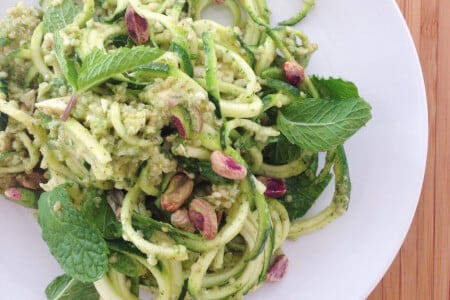 Quinoa Salad with Zucchini and Mint Pistachio Dressing thumbnail