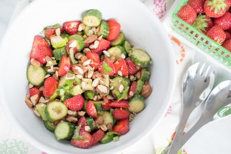 Strawberry Cucumber Salad with Toasted Almonds thumbnail