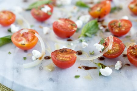 Uncomplicated Tomato Basil Salad with Goat Cheese thumbnail