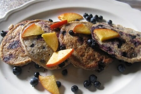 Blueberry Spelt Pancakes & Peach Walnut Sauce. Plus the Benefits of Breakfast! thumbnail