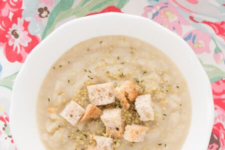 Celery Root Pear Soup with Super Tasty Croutons thumbnail
