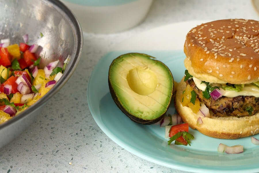 Juicy Organic Chicken Burgers with Pineapple Salsa thumbnail