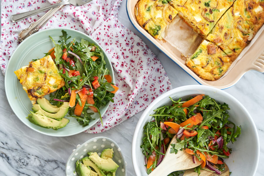 Broccoli Sweet Potato Feta Frittata thumbnail