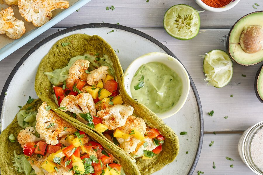 Cauliflower Tacos With Mango Red Pepper Salsa thumbnail