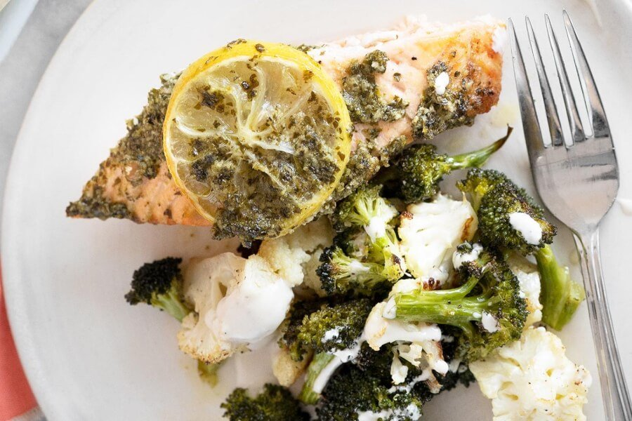 Baked Salmon with Kale Lemon Pesto  thumbnail