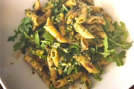 Comfort Food Recipe: Pumpkin Seed Kale Pesto on Brown rice pasta thumbnail