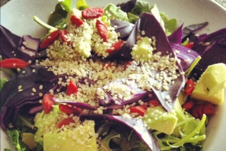 Post-Workout Salad with Hemp & Goji Berries Plus a Giveaway for new kicks! thumbnail