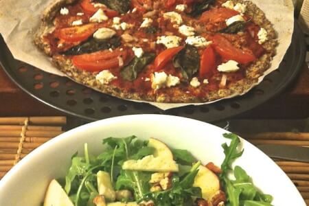 Gluten-Free Cauliflower Crust Pizza & Arugula Apple Almond Salad + Dessert thumbnail